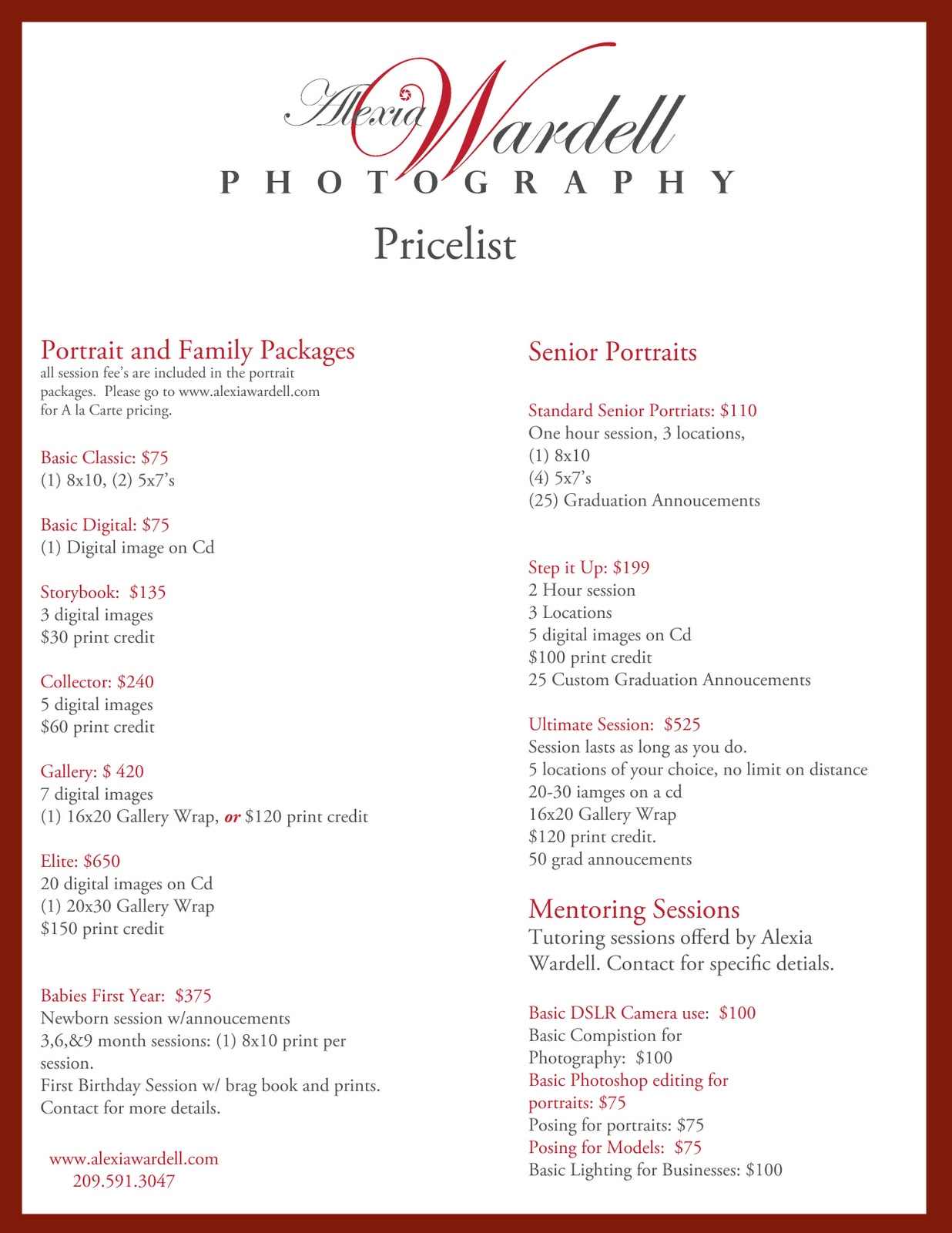 free photography price list template - Movie Search Engine ...