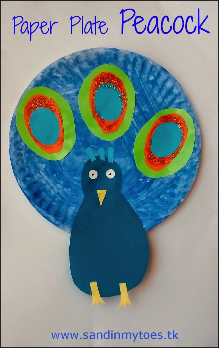 Paper plate peacock craft for kids - in celebration of India's Republic Day