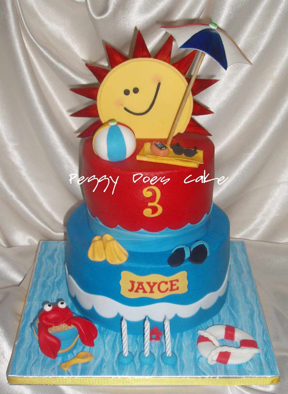 Peggy does cake cake update pool party cake for jayce click instead of fondant just for the kid friendliness of the butter cream accents were gum paste and fondant and all was edible except the embrella stem sciox Choice Image