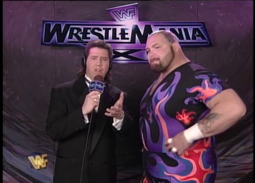 WWF / WWE: Wrestlemania 11 - Todd Pettengill interviewed Bam Bam Bigelow about his match against Lawrence Taylor
