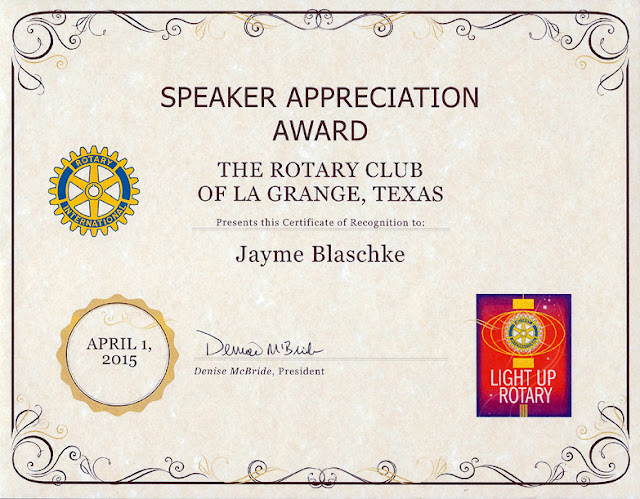 Gibberish chicken ranch report rotary for Rotary certificate of appreciation template