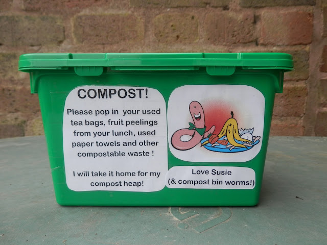 Compost caddy made from empty plastic box.  Composting at work.  secondhandsusie.blogspot.co.uk