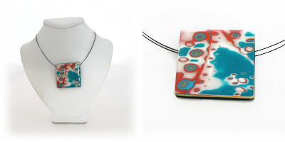 Polymer Clay Mokume Gane Square Pendant in Turquoise & Orange Handmade by Lottie Of London Bespoke Jewellery