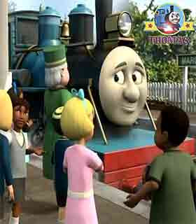 Thomas the tank engine Misty Island rescue Ferdinand the train and the golden lion of Sodor statue