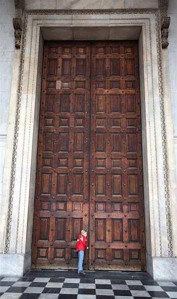 drzwi, szczęście, kobieta