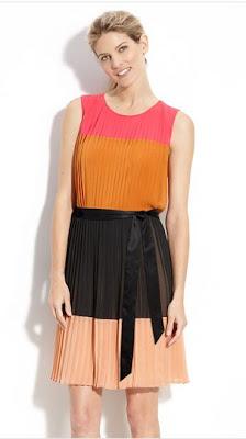 DKNY Colorblock Pleat Detail Dress