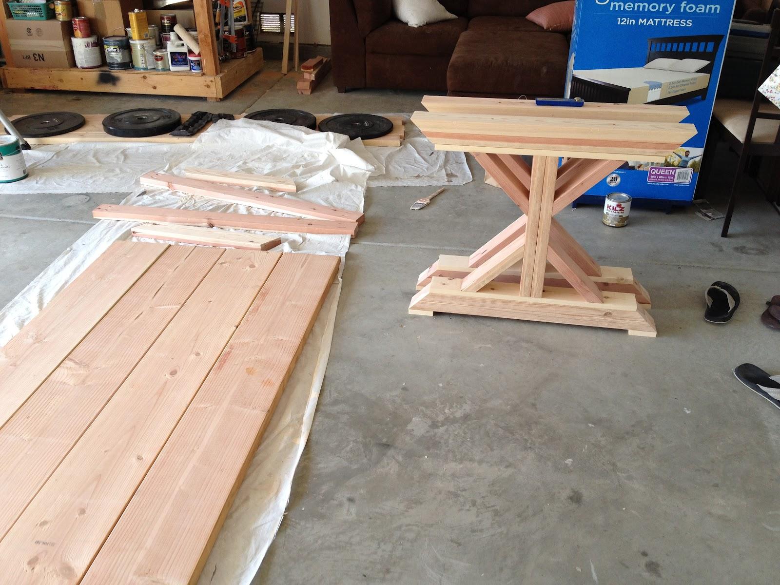 Diy fancy x farmhouse table the build a boy a girl for Farm table legs diy