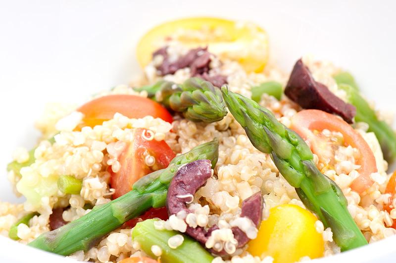 Cold asparagus salad close up