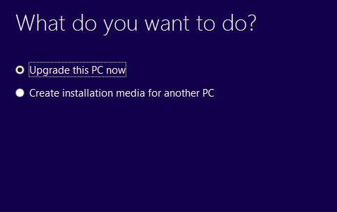 Upgrading to Windows 10 Using Media Creation tool