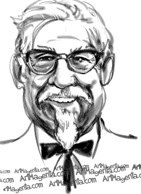 Colonel Harland Sanders caricature cartoon. Portrait drawing by caricaturist Artmagenta.