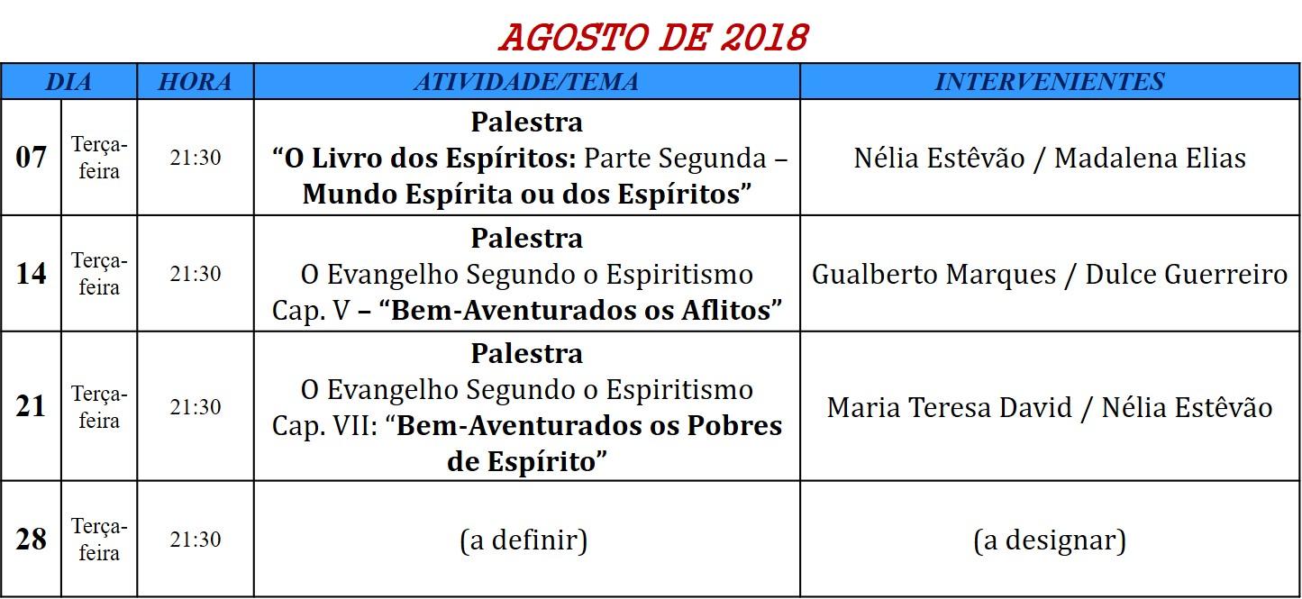 Palestras para o mês de agosto de 2018, na Associação Cultural Espírita Helil - Faro