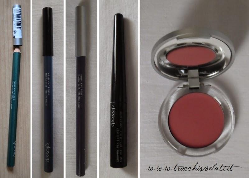 glossip make up matite kajal graphic pen eyeliner lips&cheeks blush