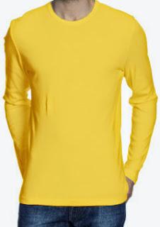 kaos-polos-oneck-lengan-panjang-kuning