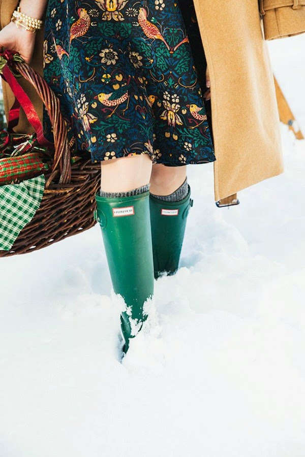 hunter boots in the snow