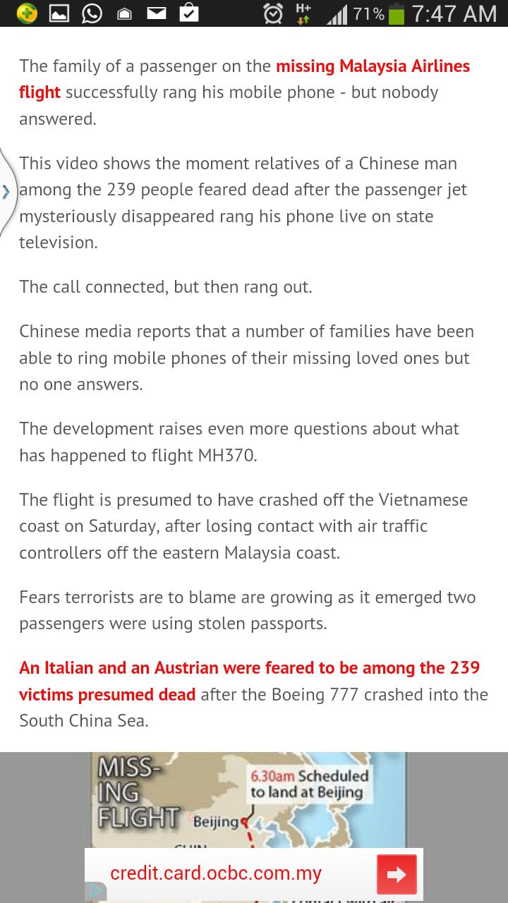 Pesawat MH370 Telah Mendarat Dilokasi Rahsia?