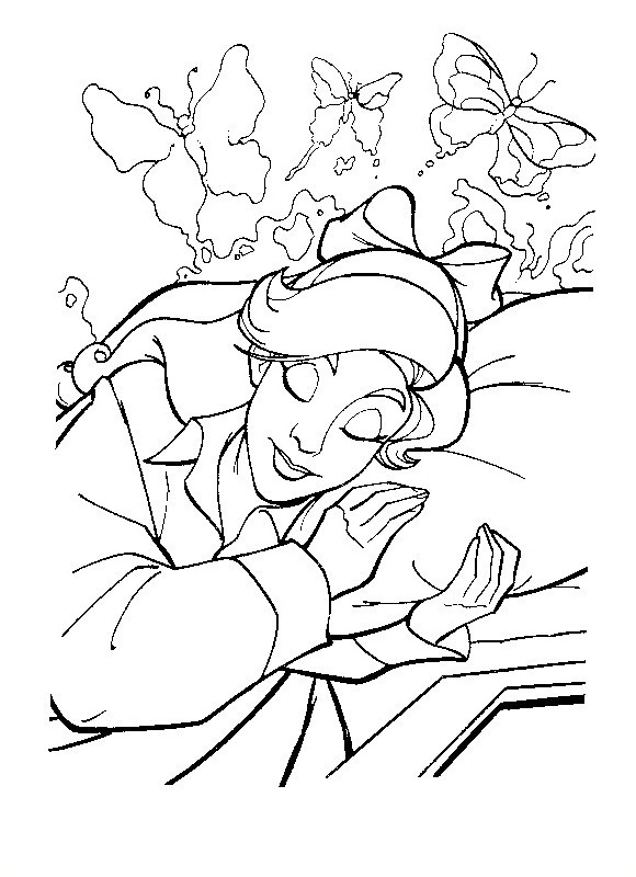 Drawing Anastasia sleeping to color and paint title=