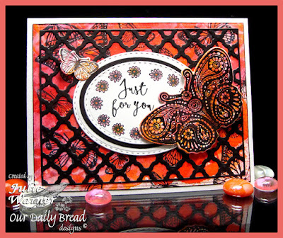 Our Daily Bread Designs Stamp sets: Boho Blessings, Boho Faith, Boho Love, Butterfly & Bugs, Trois Jolies Papillon, Our Daily Bread Designs Custom Dies: Butterfly & Bugs, Fancy Fritillary, Boho Background, Ovals, Stitched Ovals