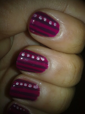 Stripes and dots nail art