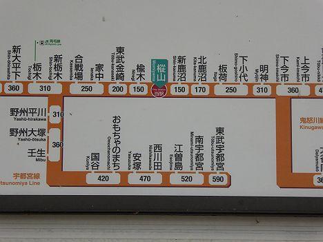 東武日光線 樅山駅 運賃表