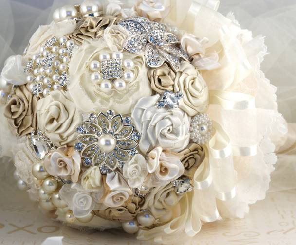 Bridal Bouquets With Vintage Brooches : Glambox beautiful make up is our hallmark inspiration
