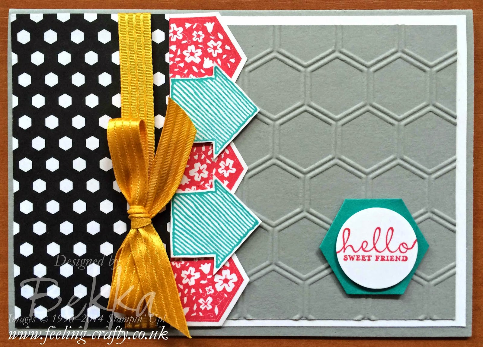 Hexagon Fun with a What's Up Six Sided Sampler Card by Stampin' Up! UK Independent Demonstrator Bekka Prideaux