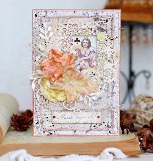 открытка, скрапбукинг, открытка с днем рождения, открытка для женщины