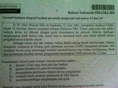Jokowi di soal ujian nasional