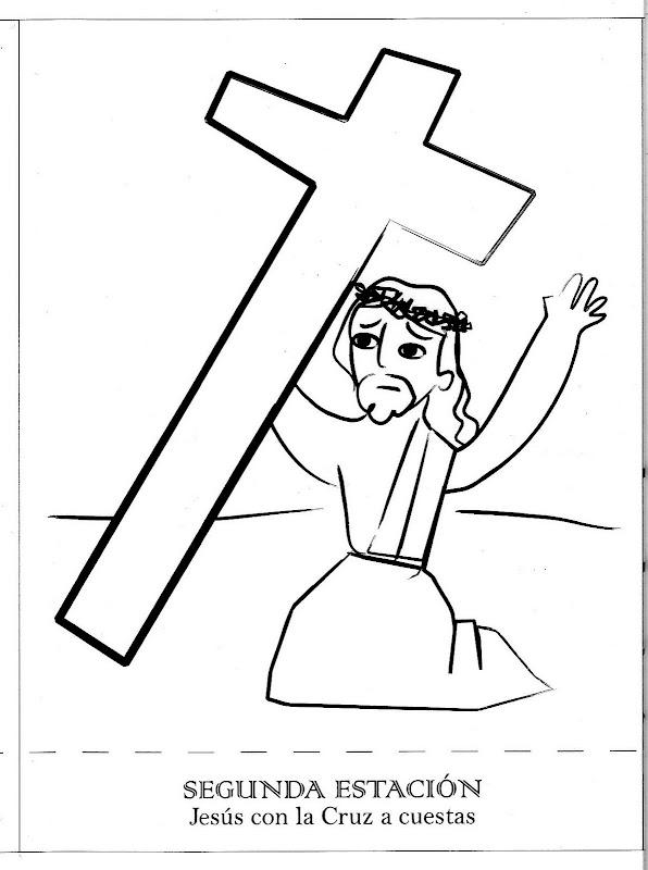 Dibujos Católicos : Jesús con la cruz a cuestas para colorear