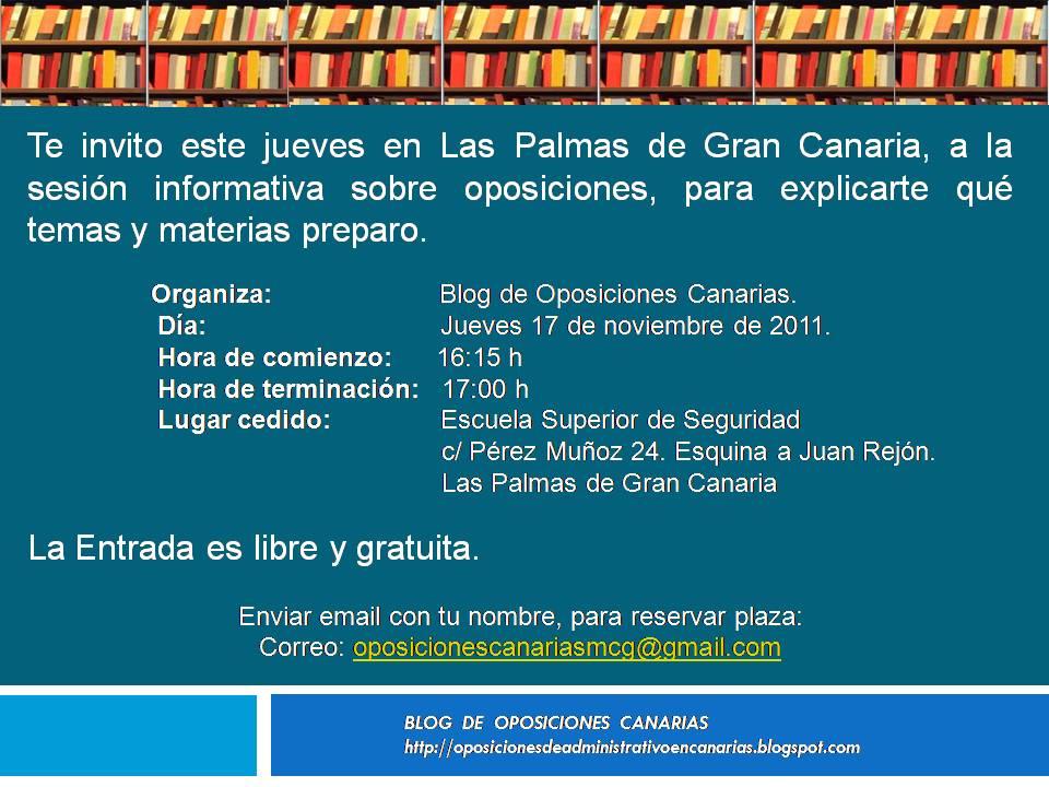 Oposiciones canarias convocatorias ofertas de empleo p blico noviembre 2011 - Bolsa de trabajo las palmas ...