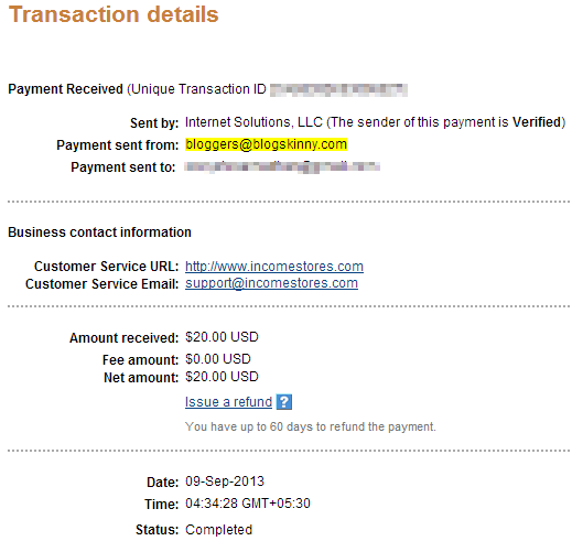 blogskinny paypal payment proof