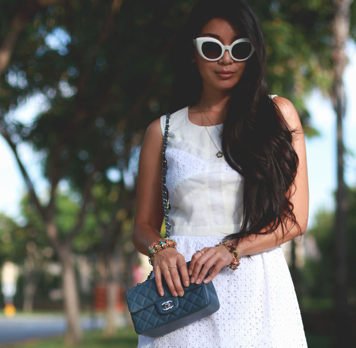 Stephanie Liu of Honey & Silk wearing Line & Dot dress (giveaway!), Chanel bag, 3.1 Phillip Lim heels, and all Chloe + Isabel jewelry