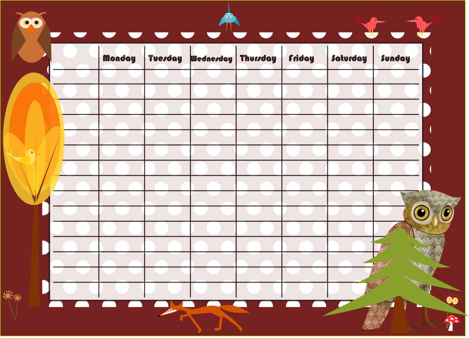 free printable timetables and weekly planners