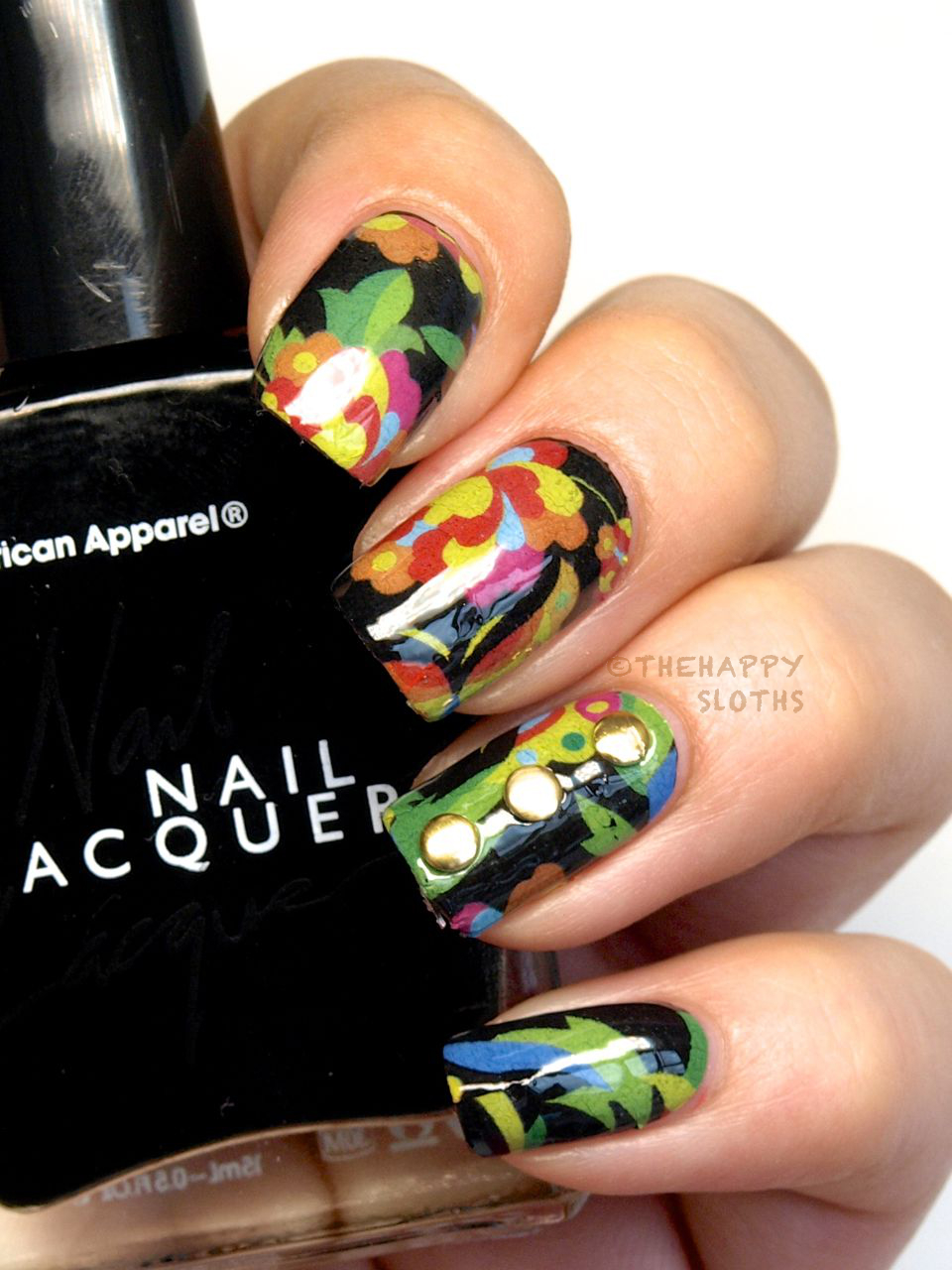 Abstract Tropical Floral Nails: Manicure Featuring KKCenterHK Water Decals Review