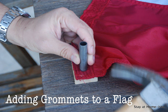 adding grommets to a flag