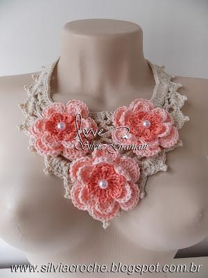 colar de crochê, colar de croche, croche, flor de croche, maxi colar, maxi colar de croche, moda, feminino, acessório, acessorio, moda feminina