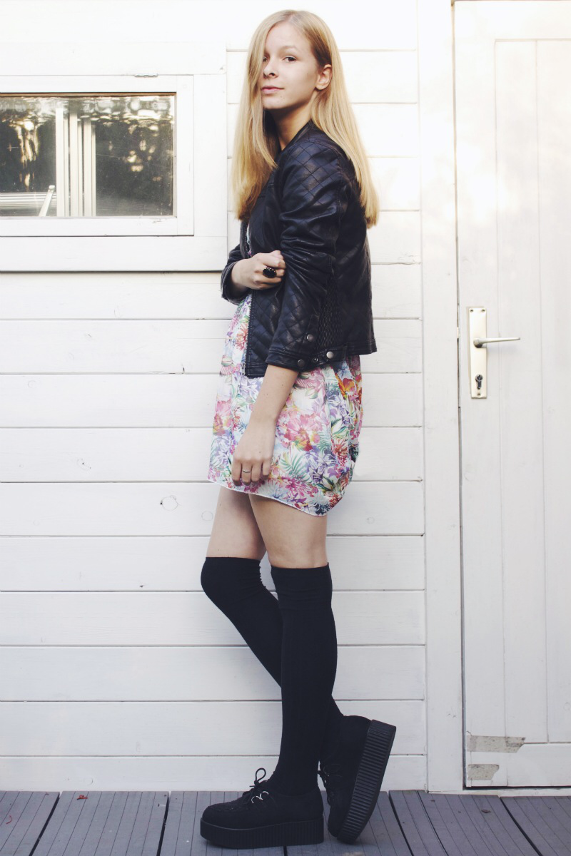 pre-fall outfit black leather jacket knee socks floral dress creepers bag
