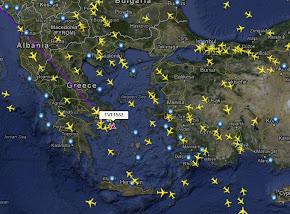 Διαδρομές πολιτικών και cargo αεροσκαφών σε πραγματικό χρόνο.
