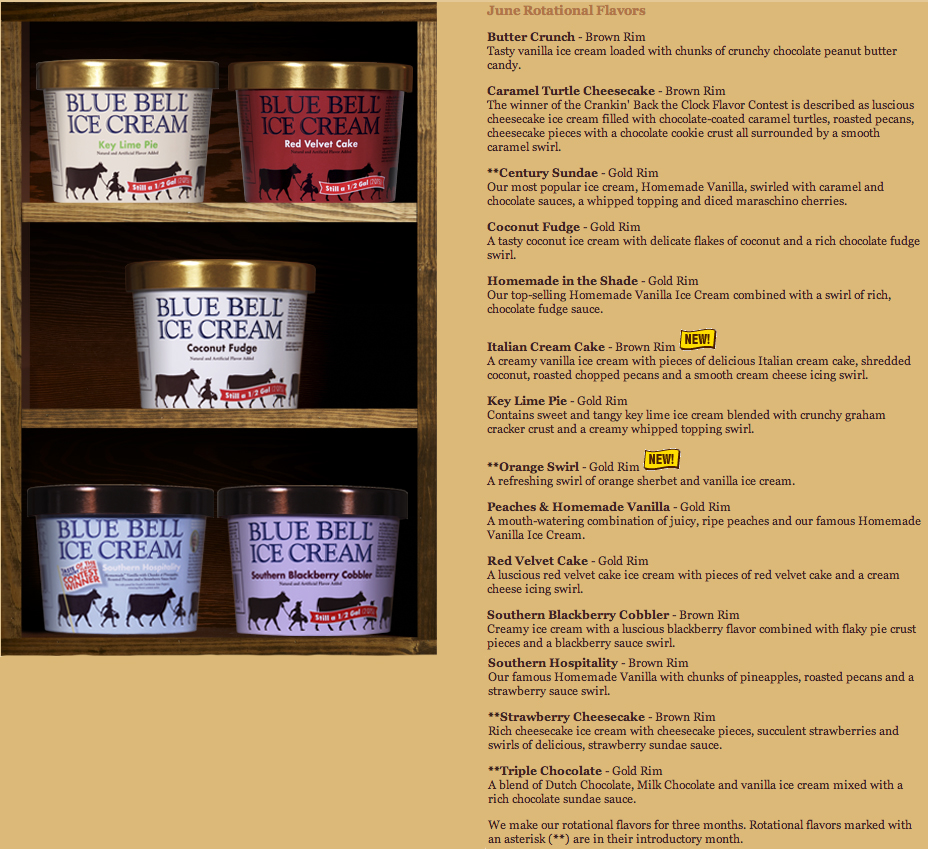 food and ice cream recipes NEWS Blue Bells Rotational Flavors