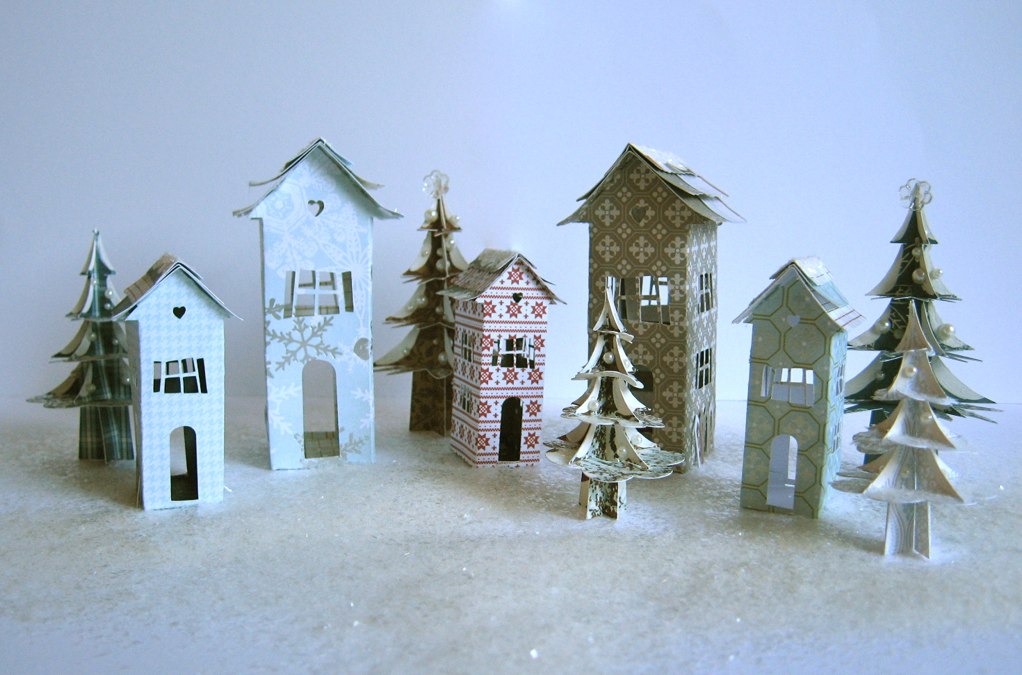 Paper Christmas Village Houses