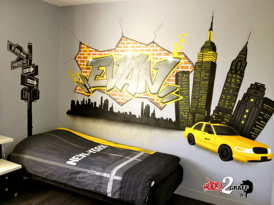 D coration graff int rieur d co ext rieur d co chambre d for Deco chambre new york garcon