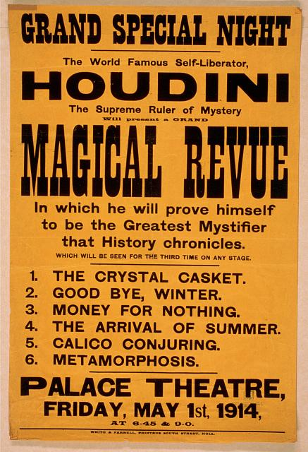 circus, classic posters, free download, graphic design, magic, movies, retro prints, theater, vintage, vintage posters, Houdini, World Famous Self-Liberator, Magical Revue - Vintage Magic Poster