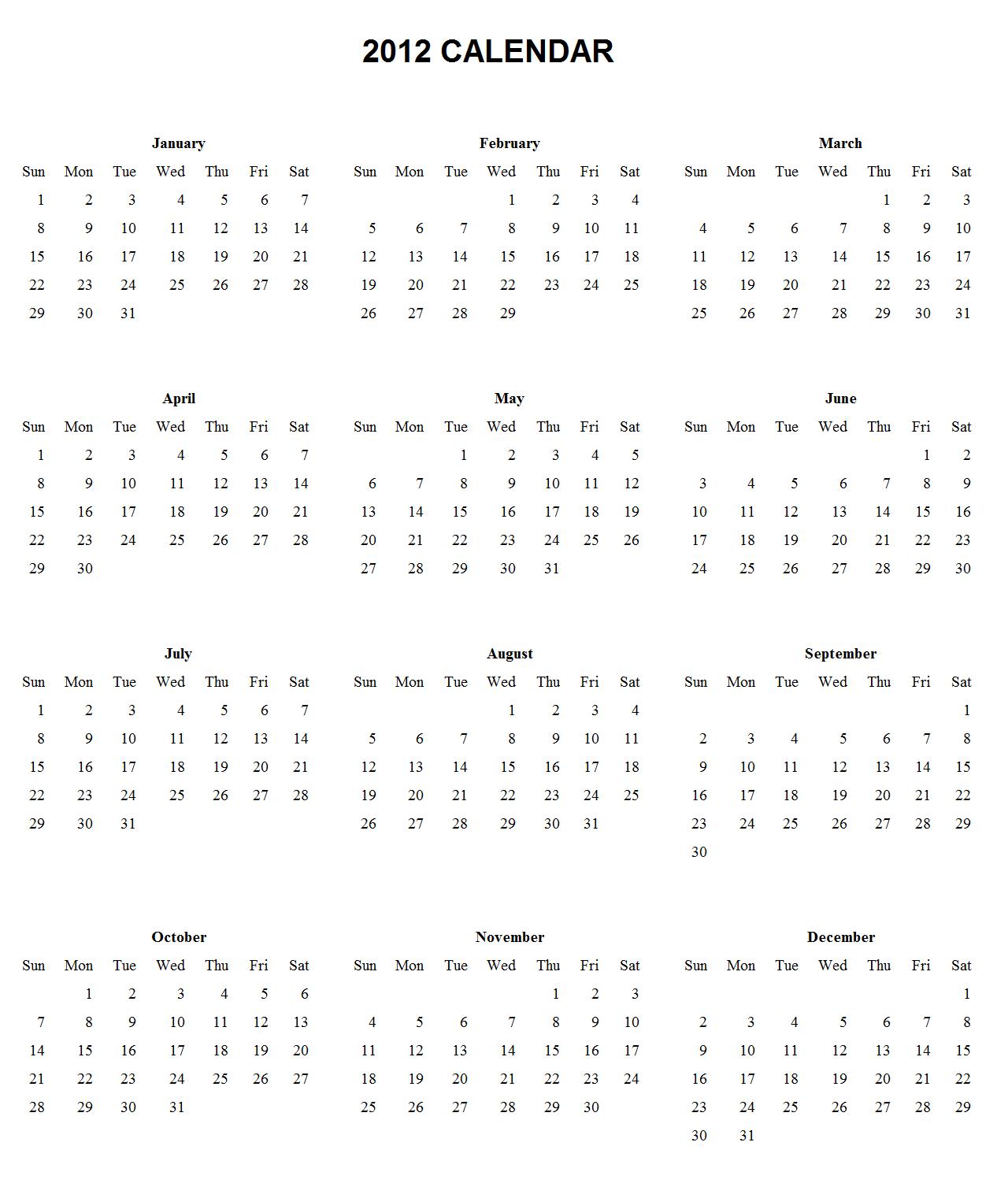 Calendar lunar pentru anul 2012