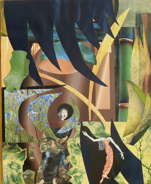 collage with swooping shapes and a woman gesturing toward her head, which is about three feet from her body