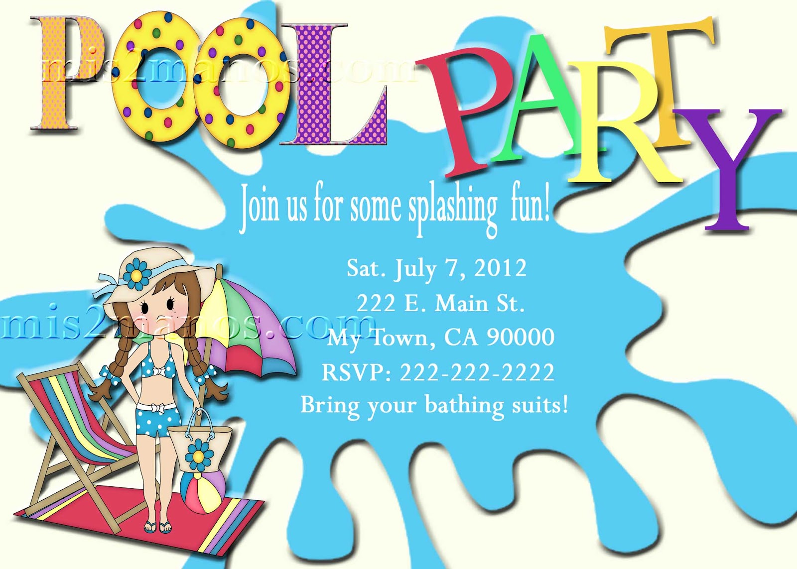 Mis 2 Manos: Made by My Hands: Summer Pool Party Invitations