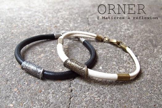 Bijoux unisex bracelet Orner cuir noir et écru