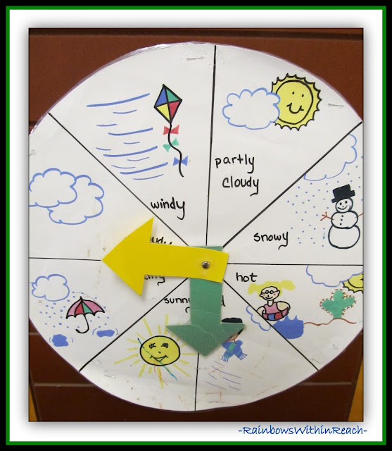 Florida VPK Weather Tracking Spinner (Weather RoundUP at RainbowsWithinReach)
