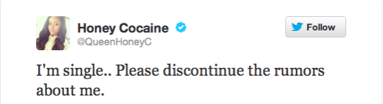Honey Cocaine twitter account post