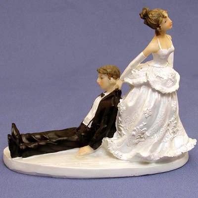 Bride Chasing Groom Cake Topper