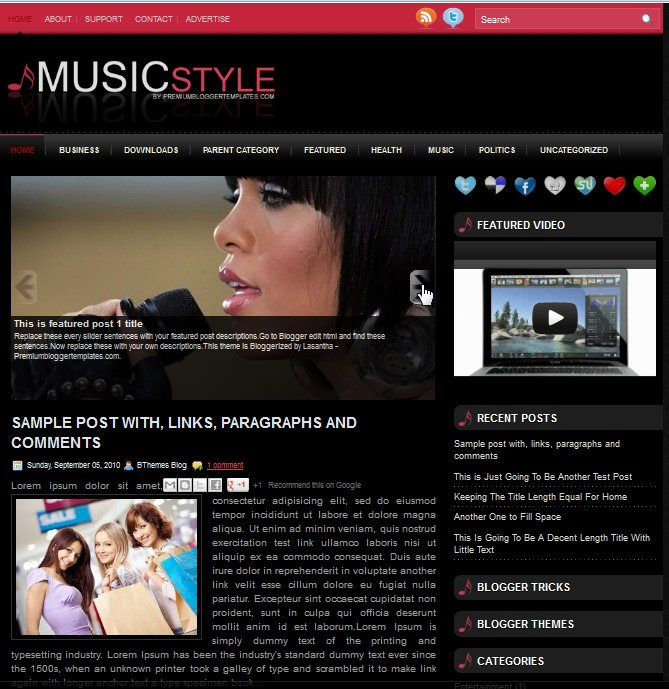MusicStyle Blogger Template collection
