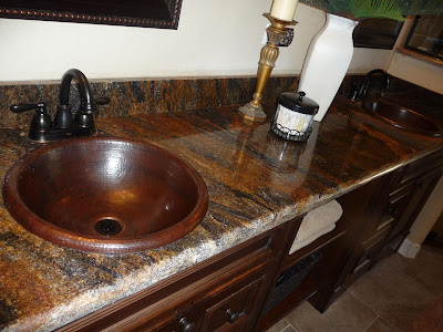 copper sinks with granite tops